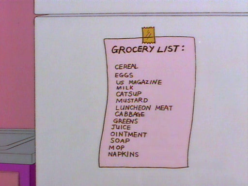 Smithers Grocery List