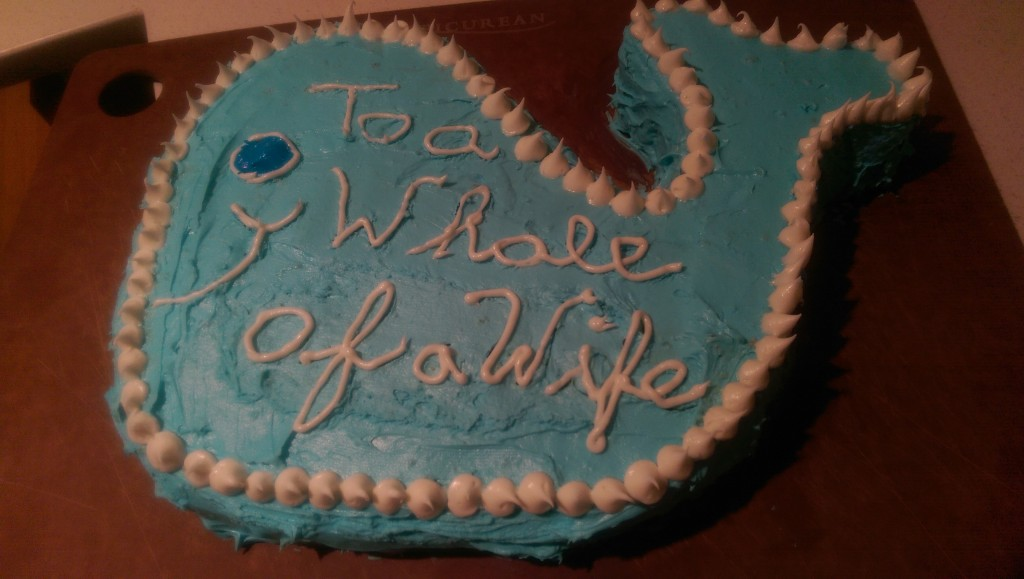 To a Whale of a Wife Cake