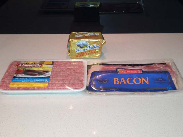 Buttered Up Bacon and Baconed Up Sausage Ingredients