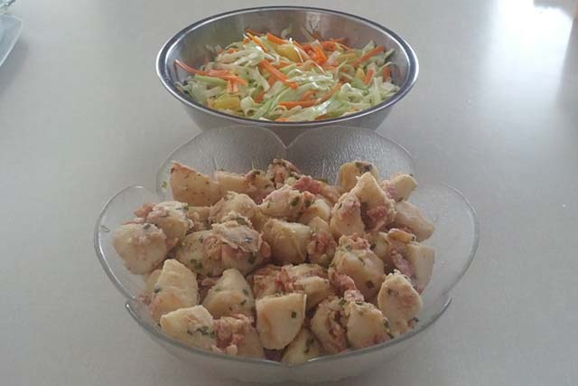 Coleslaw with Pineapple and German Potato Salad